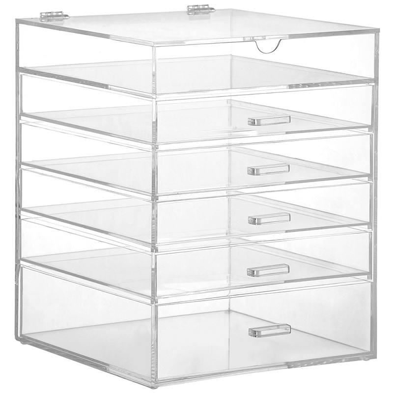 Amazon Top Seller 2018 Hinged Lid Clear Acrylic Cosmetic Cube Organizer Drawer/Large 6 Tier 5 Drawers Acrylic Makeup Storage Box