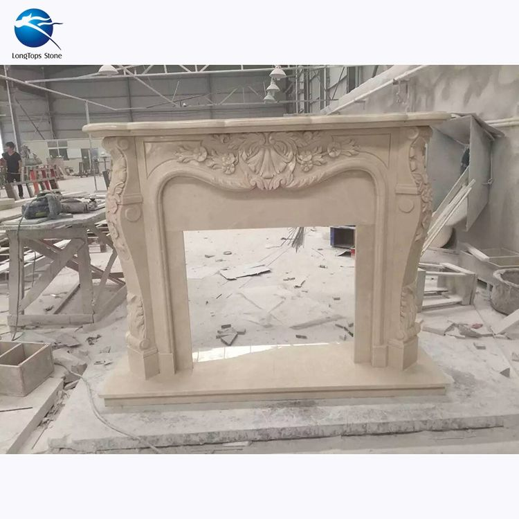 insert antique carve natural stone Fujian white marble fireplace