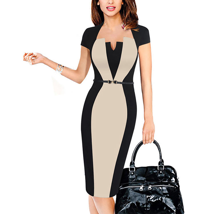 Accept paypal small v neck bodycon dress invisible zipper women dress