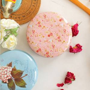 Tryme Flower Drawing Style Tea Sugar Coffee Sundries Storage Tin Box Kitchen Gift Portable Round Shape Coin Storage 7 Styles