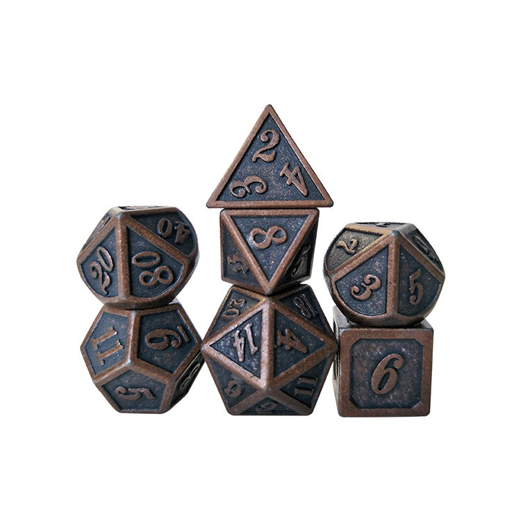 High quality Metal Dice Set Dragons DND RPG MTG Table Games--New red Copper