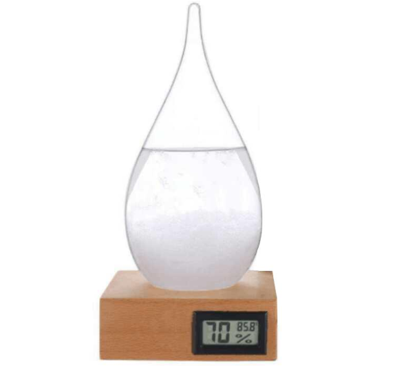 Home Decoration Glass Crafts Weather Forecast Predictor Storm Glass with Digital Fahrenheit Thermometer and Humidity Meter