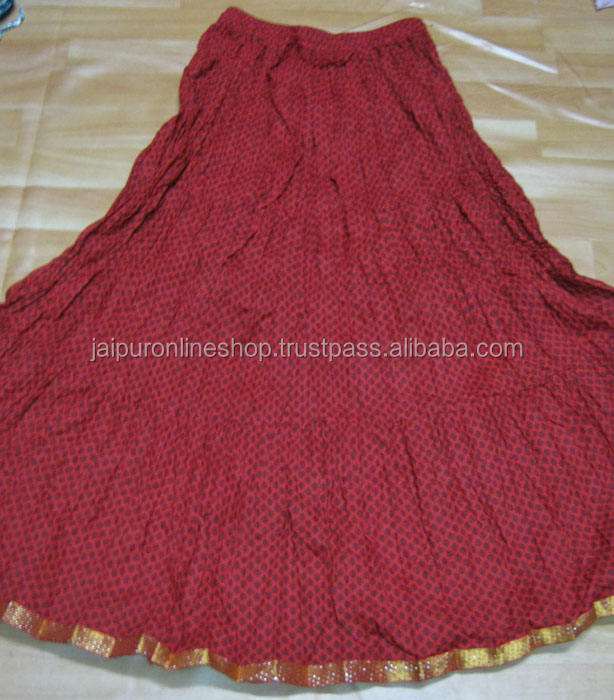 Jaipur Hand Block Cotton Long Skirt from India