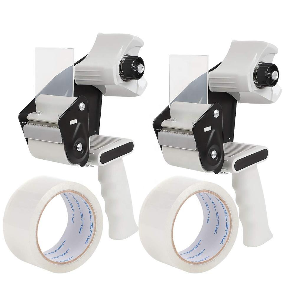 Packing tape dispenser 2 pack with 2 rolls tape 2 inch lightweight industrial side loading tape dispenser for carton sealing