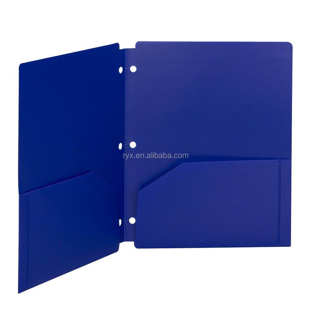 3 holes report plastic folder with two pockets