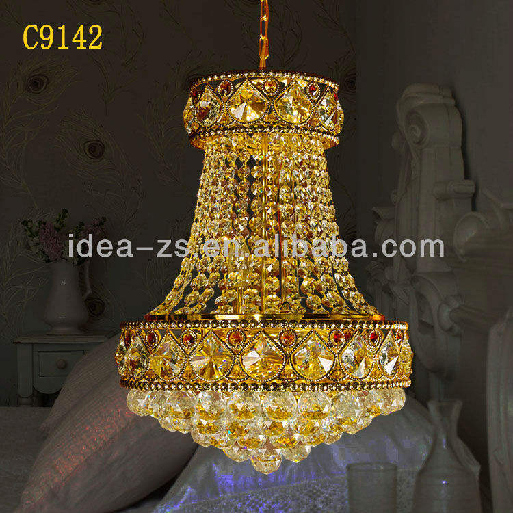 C9142 dome pendant light,2012 crystal chandeliers,chandelier crystal gold color