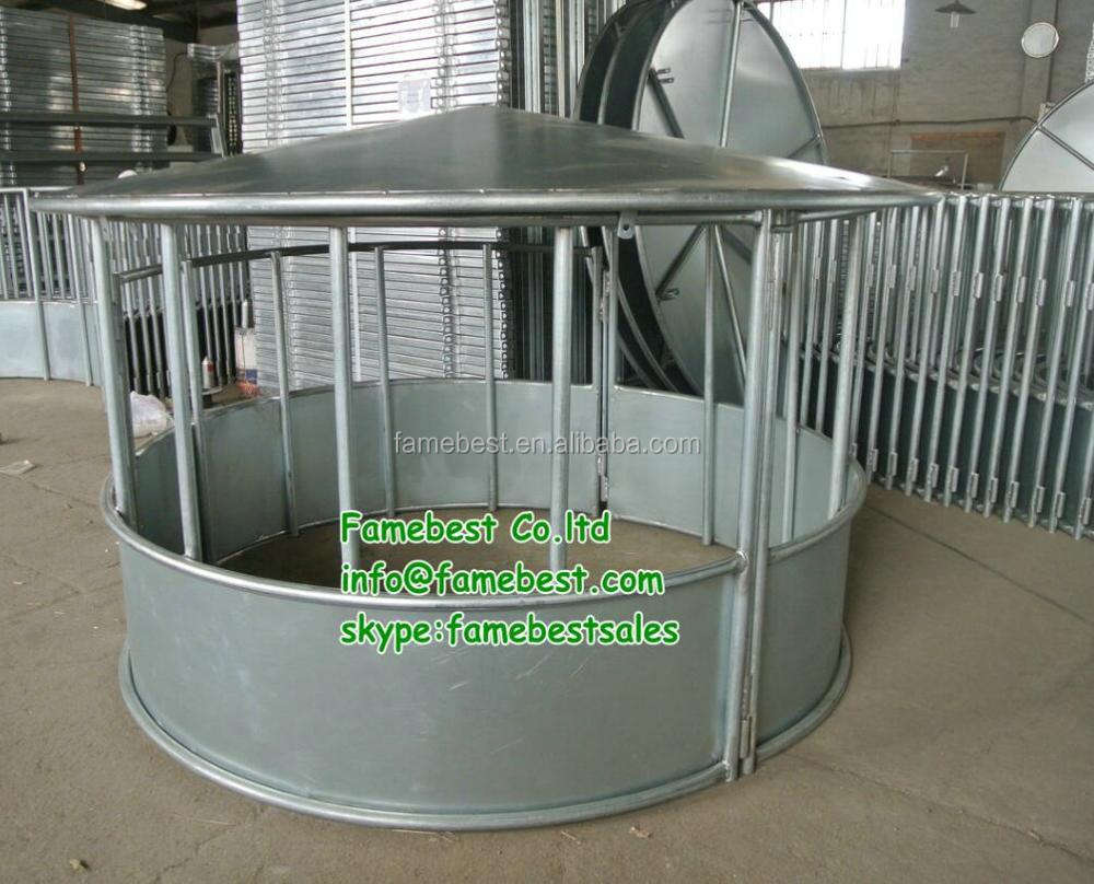 Cattle round bale feeder with cover roof and waterproof horse hay feeder