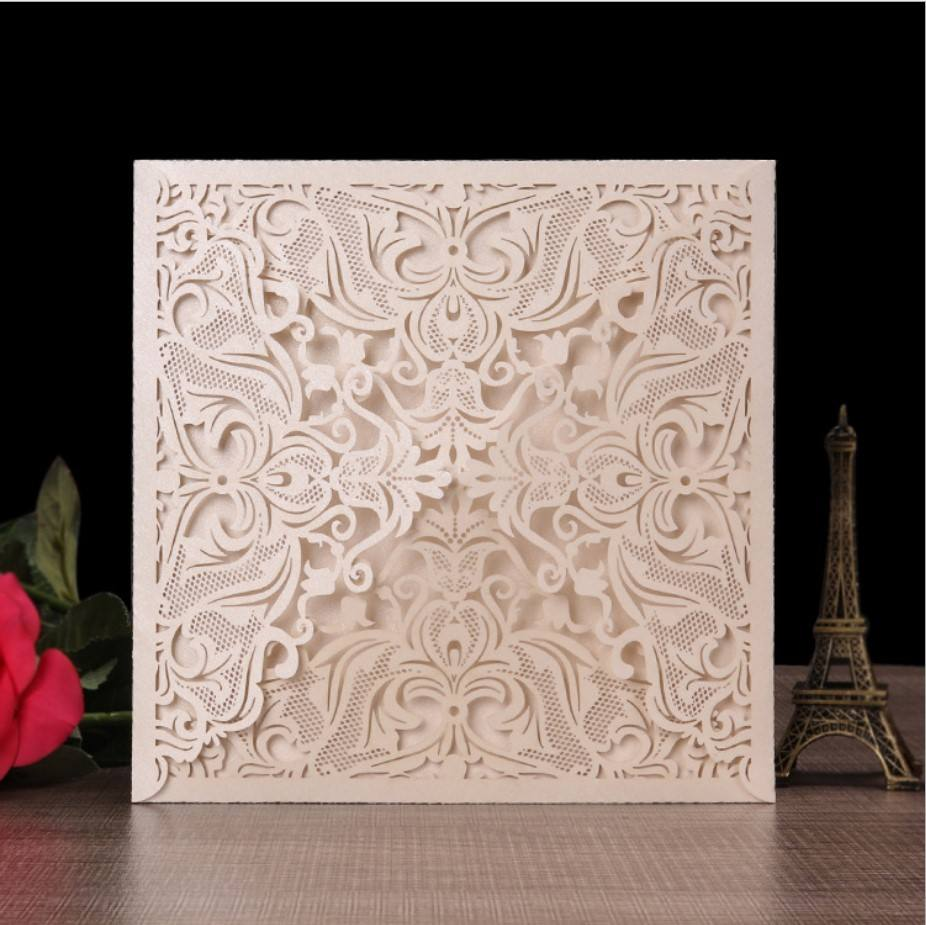 New style lace laser cut korean luxurious wedding invitation cards