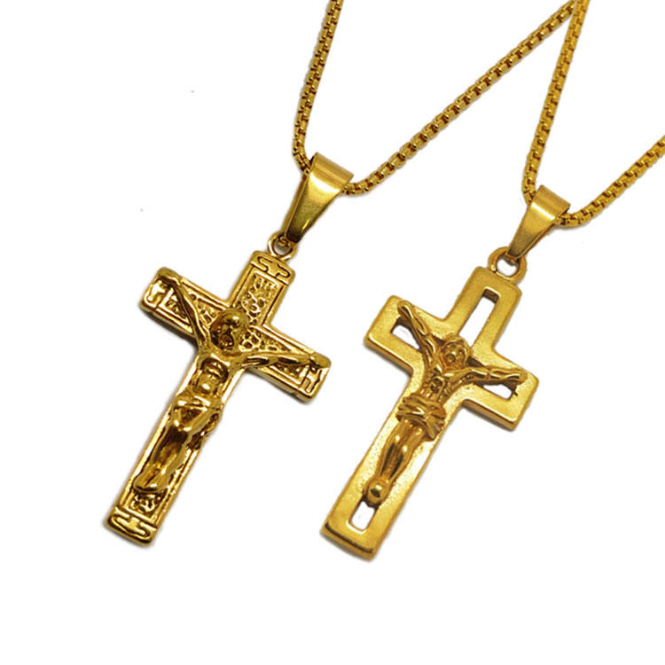 Religious Jesus Piece Cross Jewelry Fashion Stainless Steel 14K Gold Cross Pendant Necklace