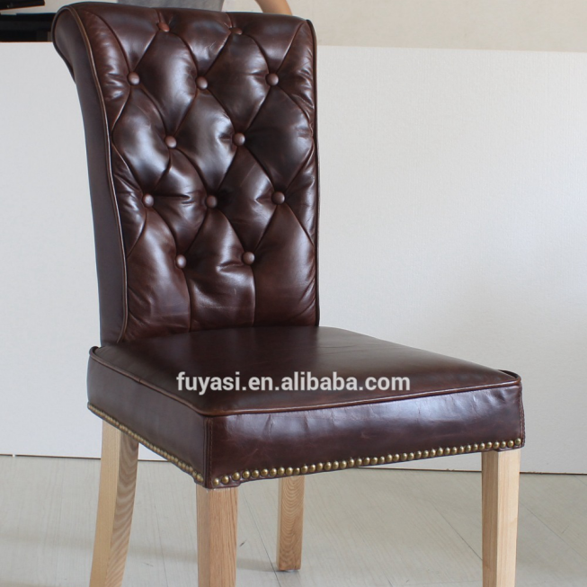 solid oak wood legs tufted button classic dinning chair