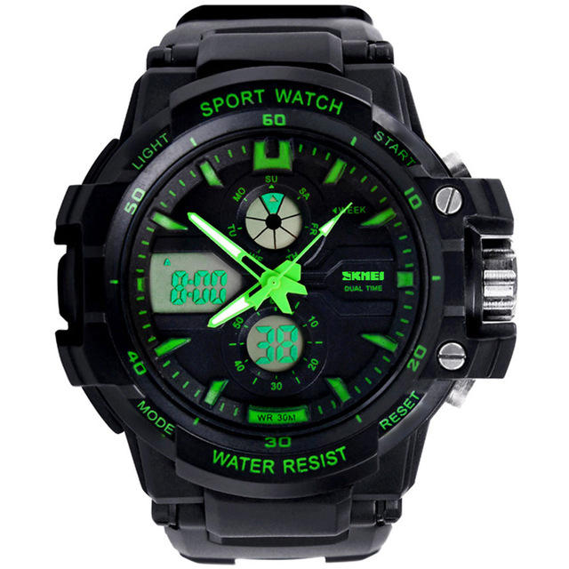SKMEI 0990 Men Quartz Digital 손목 Luxury Sport 야외 방수 Dual Display Military Army Top Brand Watches