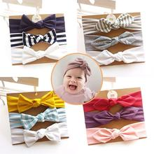 New three-piece baby hair band wholesale handmade bowknot  hair band children's bow striped headband set