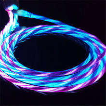 LED Glow Flowing Data USB Charger Type C/Micro USB/8 Pin Charging Cable for iPhone X Samsung Galaxy S9 S8 Charge Wire Cord