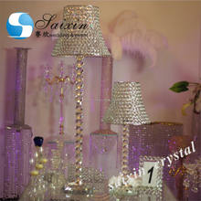 China wholesale glass lamp shade with crystal stand for wedding centerpiece