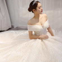 2019 Fashion Elegant Off Shoulder Wedding Dresses Sweetheart with Cap Sleeves High Quality Lace bling Wedding Bride Gown