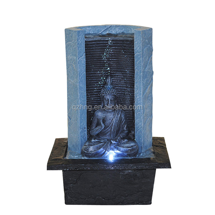polyresin buddha waterfall mini water fountain indoor with LED light