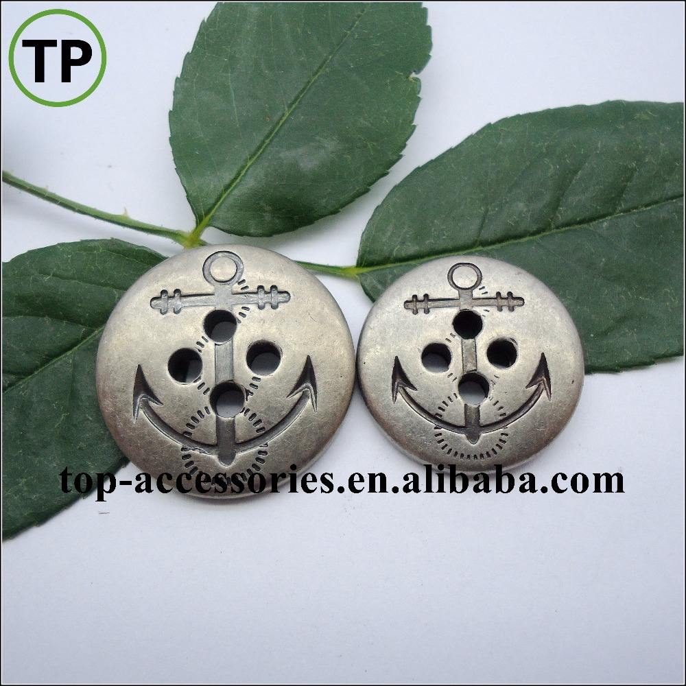 ABS plastic gun metal plating anchor button with four holes