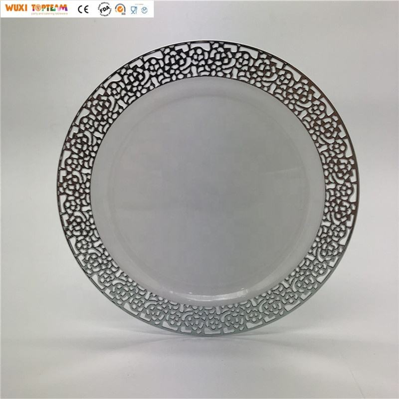 Disposable 10 Inch High Quality Plastic Wedding Charger Plate