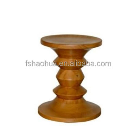 elegant decoration replica solid wood walnut color stool