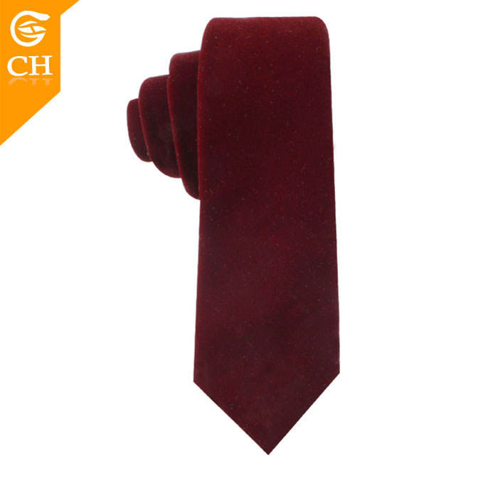 Fashion Men Unique Red Plain Necktie Retro Velvet Tie for Custom