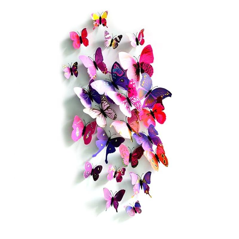 Wholesale Party DIY 3D Green Colors Artificial Butterfly Wall Decoration