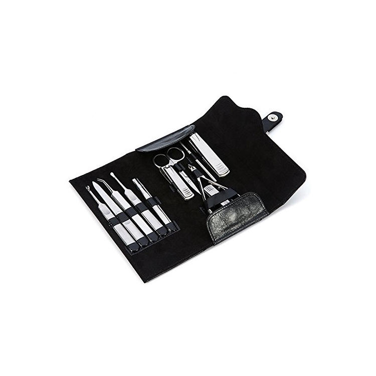 Black leather 못 clipper retro storage bag