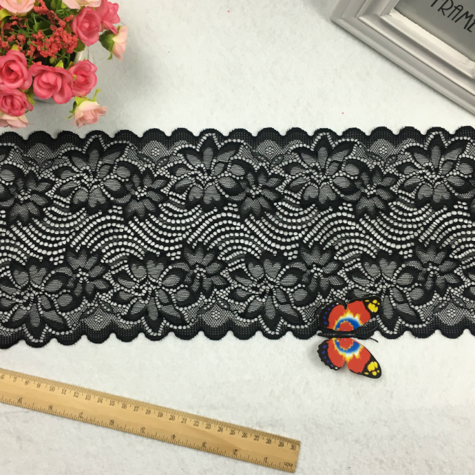 18CM Wide Nylon Spandex Elastic Jacquard Lace For Lingerie