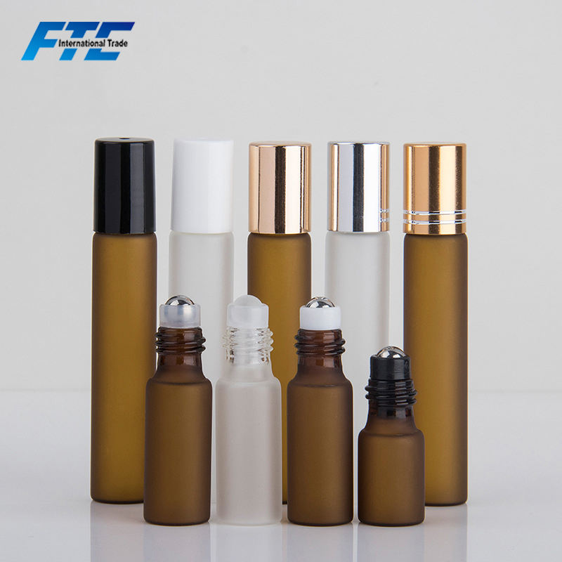 Wholesale 3ml 5ml 10ml Amber Essential Oil bottle Roller Frosted Glass Roll On Bottle