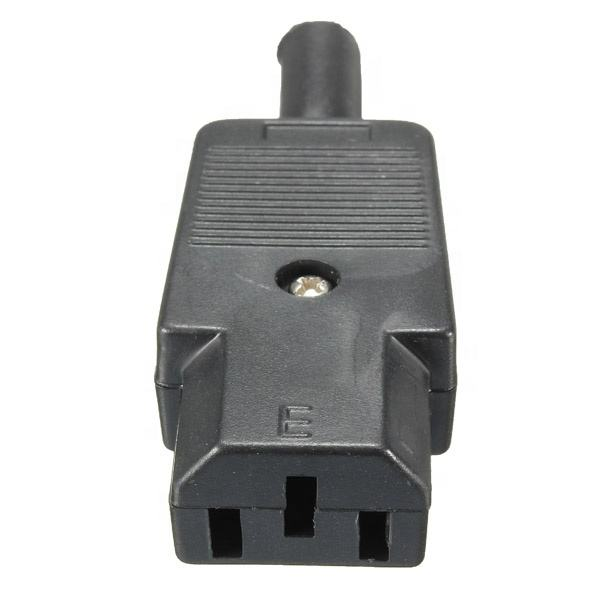 Conector IEC C15 Chasis Hembra 10A 250V 3 pines NEGRO