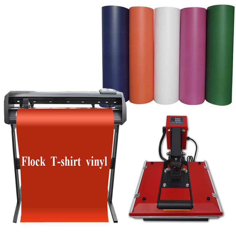 Sublimation Flock T-Shirt Heat Transfer Vinyl in Meters 0.6mm For Cutter Plotter