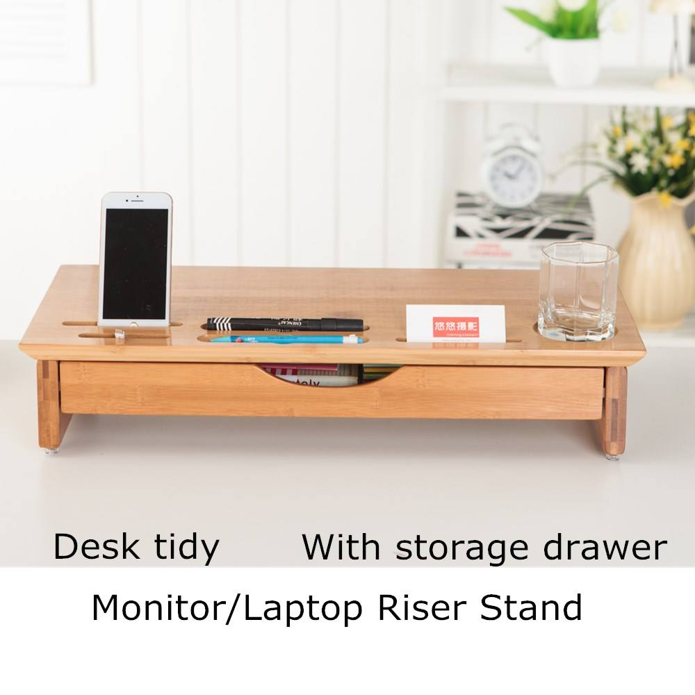 Luxe Craft Hout Monitor Stand met Riser, Organizer Bamboe, Laptop Kantoor Mobiel TV Printer Stand Desktop Container