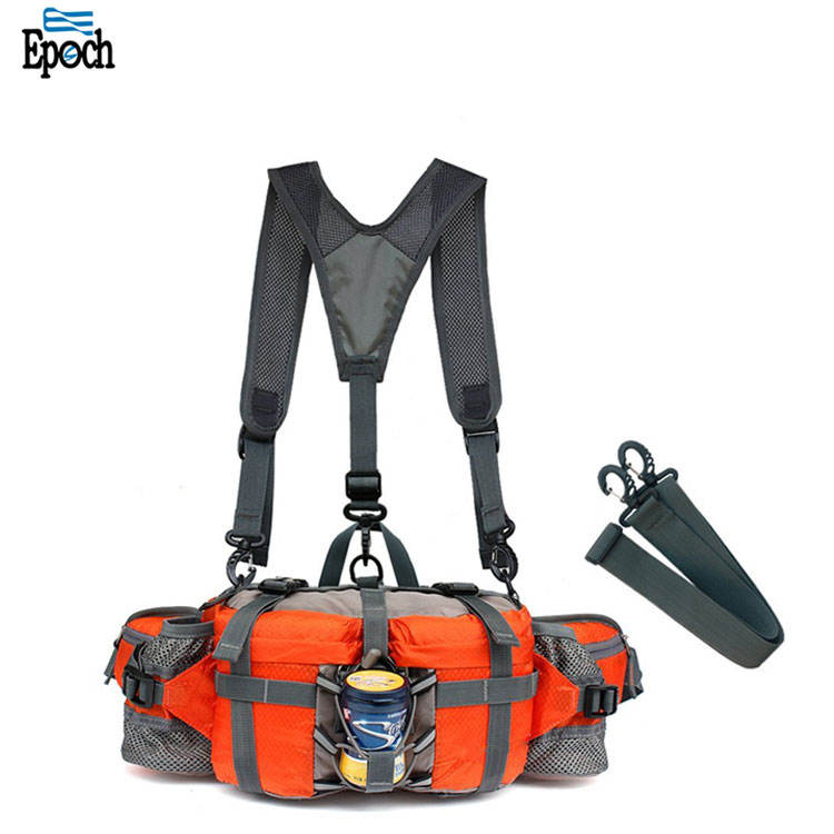 Wholesale nylon outdoor hiking multifunction storage lumbar bag with 2 water bottle holder