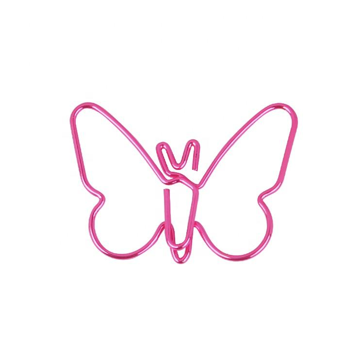 Popular customized shiny pink color butterfly shaped metal paper clip gifts 20pcs per pack pp box package