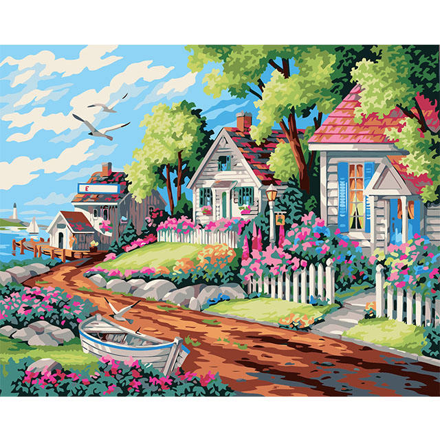 Musim Semi Yang Hangat Garden House Pemandangan Oil Painting Kit dengan Angka 3D Lukisan Bordir Cross Stitch