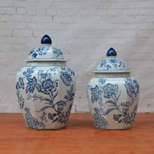 Warehouse hexagonal Fashion home decoration ceramic ginger jar blue white for home