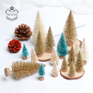 DIY Small Christmas Tree Pine Tree Mini Sisal Bottle Brush Christmas Tree Santa Snow Frost Village House
