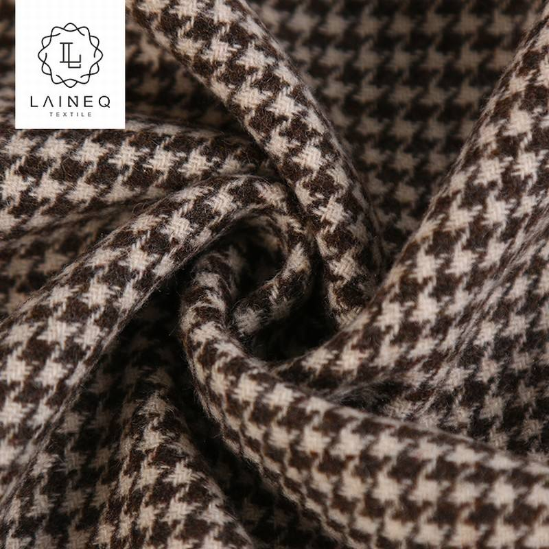 STOCK houndstooth herringbone double faced woolen fabric for overcoats