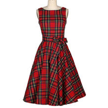 Hot Sexy Ladies Clothes Knee-Length Red Plaid Dress With Cheap Price