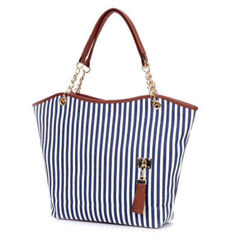 factory direct sale low price multifunction women tote stripe canvas handbag