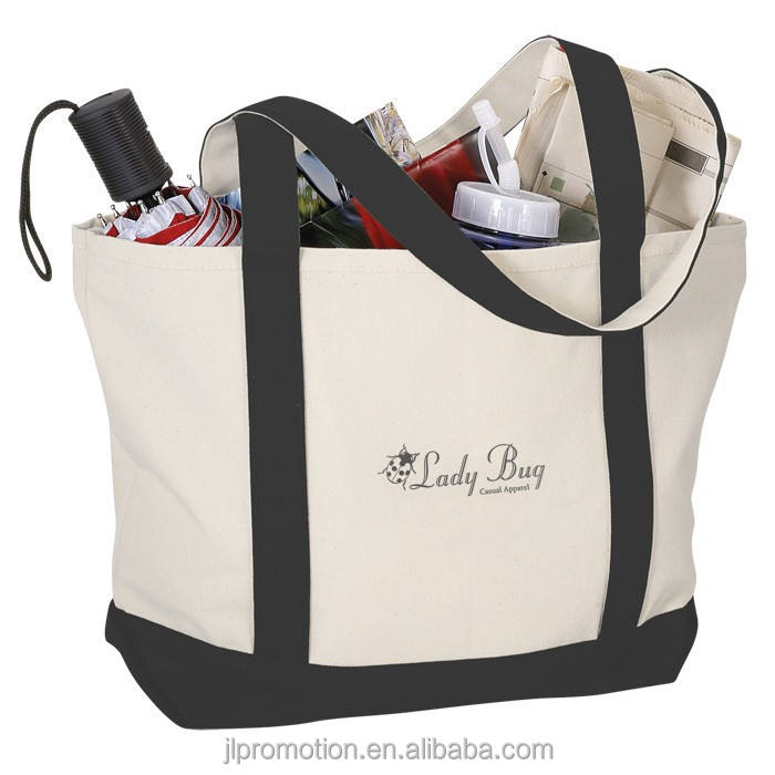 12 oz heavyweight canvas Two-Tone Accent Gusseted Tote Bag with long handles