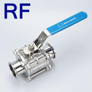 RF SS316 1.5 Inch Stainless Steel Sanitary Low Platform Full Bore PTFE Seat 3 PC Tri-Clamp End Ball Valve For Food And Beverage
