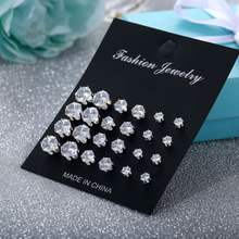2019 Round Six Claw Crystal Zircon Small 12 Pairs Stud Earrings Set Bijuterias