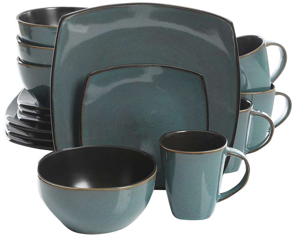 ceramic dinnerware Soho Lounge 16 Piece Reactive Glaze Dinnerware Set, Soft Square, Teal Green