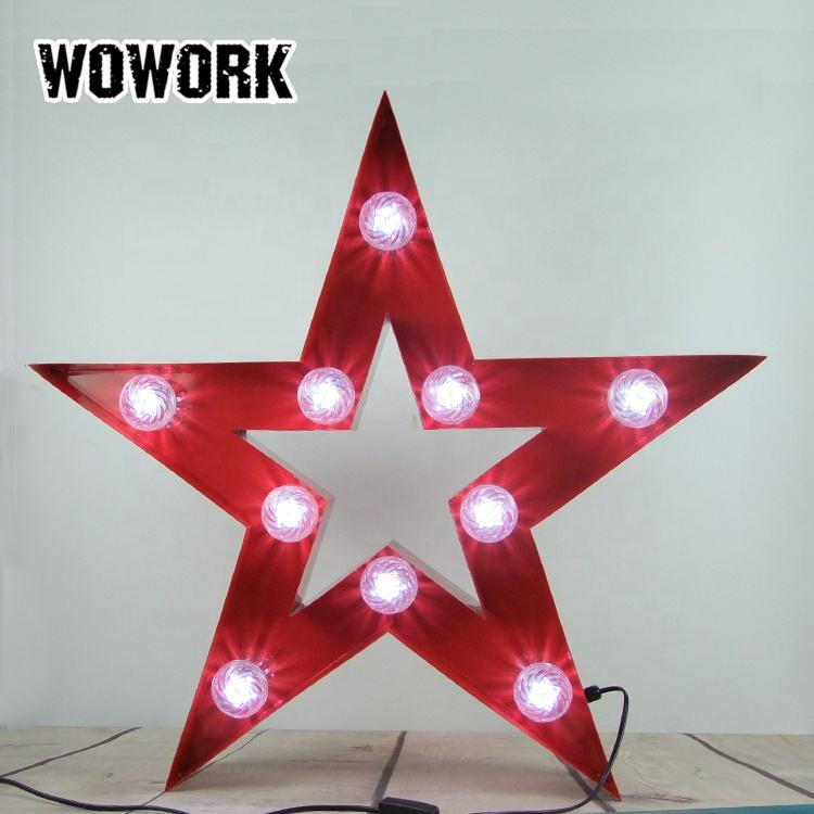 WOWORK custom fairground turbo bling metal red big star logo sign lights by OEM