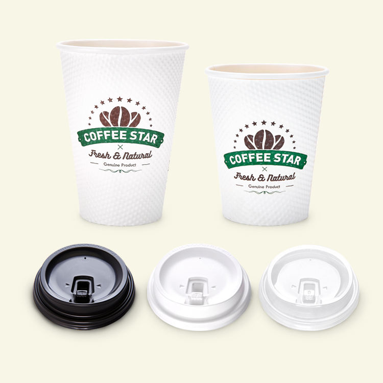 8oz 12oz Customized Printing Double Wall Disposable Paper Ripple Cup With Coffee Lids