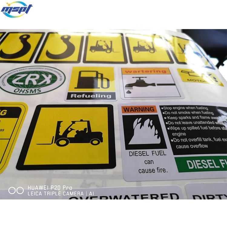 Custom stickers waterproof vinyl stickers for machinery trucks warning and logo stickers