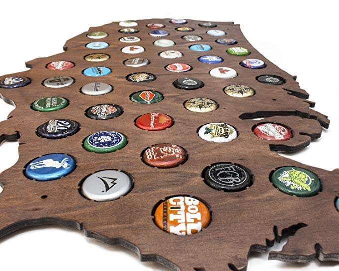 Wholesale Rustic Wood Beer Cap Map for Home Decor