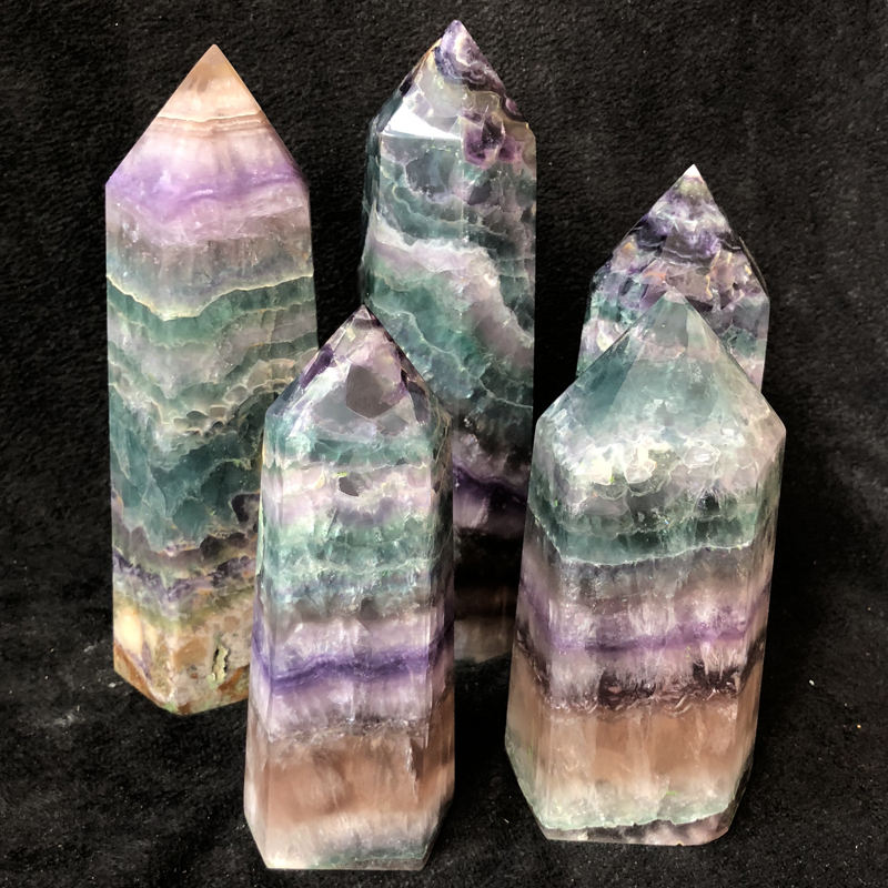 Magic Wand Natural Rock Rainbow Fluorite Stone Crystal Obelisk Large Fluorite Points for Sale