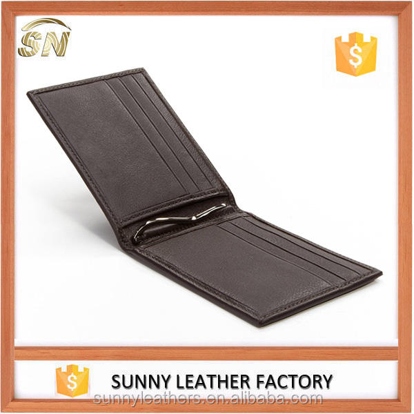 Premium Good Leather Bifold Money Clip Card Wallet with Center spring clip zinc alloy money clip