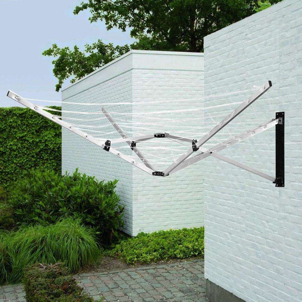 26m Foldable Wall Mounted Aluminium 5 Arm Deluxe Airer Clothes Line Dryer